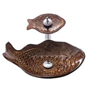 洗面ボウル&蛇口セット 洗面器 手洗鉢 強化ガラス製 排水金具付 お魚型