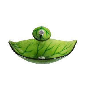 洗面ボウル&蛇口セット 手洗い鉢 洗面器 強化ガラス製 排水金具付 オシャレ 葉型 浅緑色 HAM012