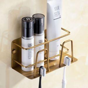 浴室棚 シェルフ 化粧棚 歯ブラシホルダー 浴室収納 穴開け不要 ブラス色