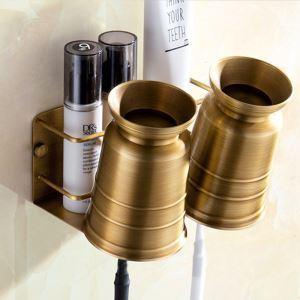 浴室棚 シェルフ 化粧棚 歯ブラシホルダー カップ付 浴室収納 穴開け不要 ブラス色