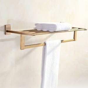 浴室タオルラック タオル掛け 壁掛けハンガー タオル収納 穴開け不要 ブラス色