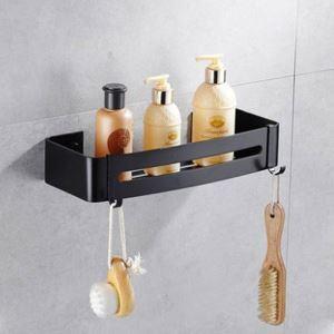 シャンプースタンド シャワーラック 壁掛けラック 浴室収納 1段 穴開け不要 黒色