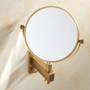 室内用ミラー 壁掛け化粧鏡 拡大鏡付き 回転可 穴開け不要 ブラス色