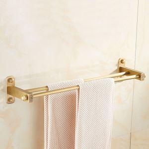浴室二重タオルバー タオル掛け 壁掛けハンガー タオル収納 ブラス色