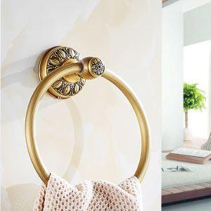 タオルリング 壁掛けハンガー タオル掛け タオル収納 真鍮 ブラス色