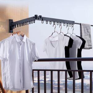 室内物干しハンガー 洗濯物干し 壁掛け物干し 物干しフック 折畳み式 伸縮性