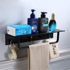 浴室棚 シェルフ 多機能ラック 浴室収納 フック付 アルミニウム製 黒色