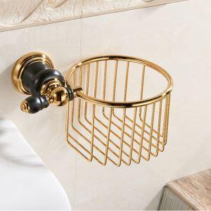 トイレットペーパーホルダー 紙巻器 ペーパーかご ペーパー収納 トイレ用品 真鍮 2色