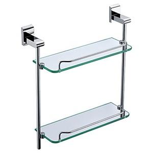 化粧棚 シェルフ ガラス棚 浴室棚 バスアクセサリー クロム 2段(0640)