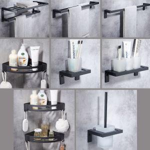 バスアクセサリーセット タオル掛け 浴室棚 トイレブラシホルダー 厚分 アルミニウム製 黒色
