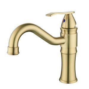 洗面蛇口 バス水栓 冷熱混合栓 水道蛇口 ヘアラインゴールド H21cm