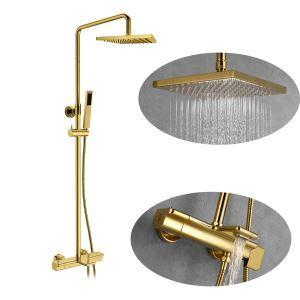 浴室シャワー水栓 シャワーシステム サーモスタット付混合栓 ヘッドシャワー+ハンドシャワー 金色