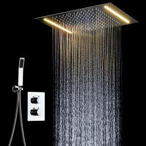 埋込形シャワー水栓 サーモスタット式混合栓 シャワーシステム 電球色 電源必須 多機能 クロム