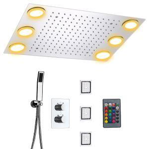 埋込形シャワー水栓 シャワーシステム サーモスタット付 マッサージスプレー付 彩色LEDライト付 電源必須 リモコン付 多機能 クロム