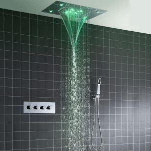 LED埋込形シャワー水栓 サーモスタット式混合栓 シャワーシステム 彩色LEDライト付 電源必須 多機能 クロム
