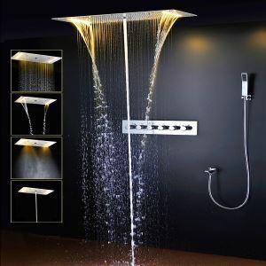 埋込形シャワー水栓 サーモスタット式混合栓 シャワーシステム 電球色 電源必須 6機能 クロム