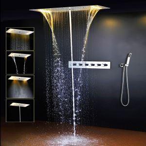 埋込形シャワー水栓 サーモスタット式混合栓 シャワーシステム 電球色 電源必須 5機能 クロム