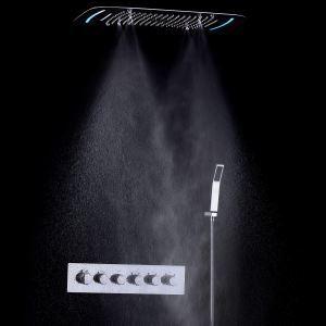 埋込形シャワー水栓 シャワーシステム サーモスタット式混合栓 彩色LEDライト付 電源必須 多機能 多吐水式 クロム