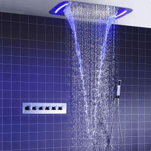 埋込形シャワー水栓 シャワーシステム サーモスタット式混合栓 彩色LEDライト付 電源必須 多吐水式 クロム