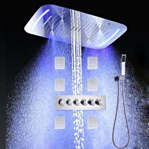 埋込形シャワー水栓 シャワーシステム サーモスタット付 マッサージスプレー付 彩色LEDライト付 電源必須 多吐水式 クロム