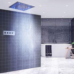 LED埋込形シャワー水栓 サーモスタット式混合栓 シャワーシステム シャワーヘッド+ハンドシャワー 3機能 クロム