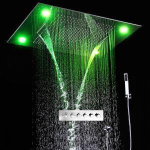 埋込形シャワー水栓 レインシャワーシステム サーモスタット付 彩色LEDライト付 電源必須 リモコン付 クロム