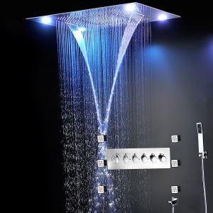 埋込形シャワー水栓 レインシャワーシステム サーモスタット付 マッサージスプレー付 彩色LEDライト付 電源必須 リモコン付 クロム