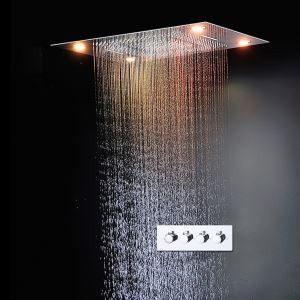 埋込形シャワー水栓 レインシャワーシステム シャワーヘッド 彩色LEDライト付 電源必須 リモコン付 クロム