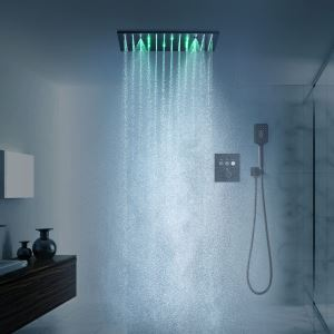 LED埋込形シャワー水栓 サーモスタット式混合栓 シャワーシステム シャワーヘッド+ハンドシャワー 黒色