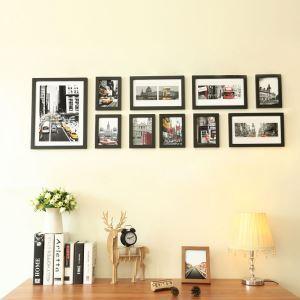 壁掛けフォトフレーム 写真用額縁 フォトデコレーション 黒枠 10個セット 複数枚