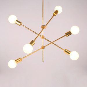 シャンデリア リビング照明 寝室照明ダイニング照明 北欧風 魔豆型 金色 6灯