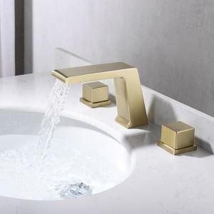 洗面蛇口 バス水栓 冷熱混合栓 立水栓 水道蛇口 2ハンドル 方形 ヘアラインゴールド