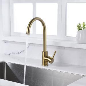 キッチン水栓 台所蛇口 冷熱混合栓 水道蛇口 真鍮 ヘアラインゴールド