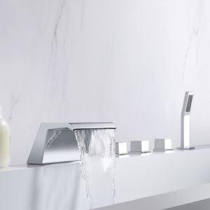 浴槽水栓 バス蛇口 シャワー混合栓 ハンドシャワー付 水道蛇口 真鍮 5点 3色