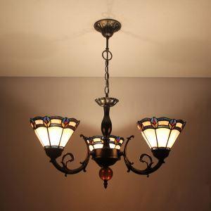 シャンデリア ステンドグラスランプ リビング照明 ダイニング照明 花柄E 3灯