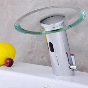 センサー水栓 自動水栓 洗面蛇口 レバー付混合栓 ガラス製滝状吐水口