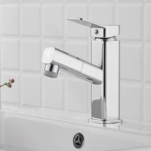 洗面蛇口 スプレー混合栓 洗髪用水栓 ホース引出式 整流&シャワー吐水式 2色 H17cm 方形