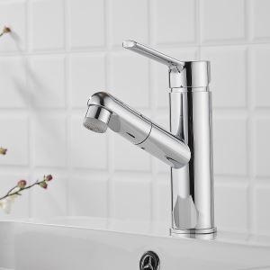 洗面蛇口 スプレー混合栓 洗髪用水栓 ホース引出式 整流&シャワー吐水式 2色 H17cm 円形