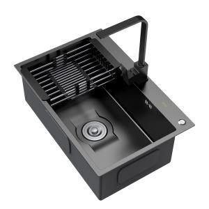 キッチンシンク 台所流し台 1槽 ステンレス製 手作り 黒色 厚さ D6045