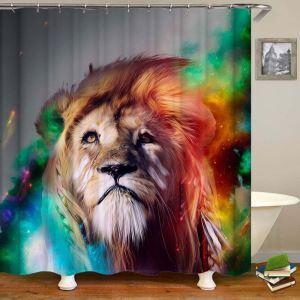 シャワーカーテン バスカーテン 防水防カビ プリント オシャレ 浴室用 リング付 ライオン柄 3D立体