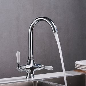 キッチン水栓 台所蛇口 冷熱混合栓 水道蛇口 2ハンドル 回転可 クロム&黒色