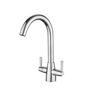 キッチン蛇口 台所水栓 冷熱混合栓 水道蛇口 2ハンドル 回転可 黒色