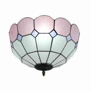 シーリングライト ステンドグラス照明 玄関照明 ピンク D40cm LTFM069
