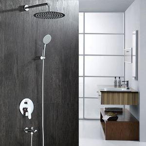 埋込形シャワー水栓 レインシャワーシステム バス混合栓 ヘッドシャワー+ハンドシャワー クロム