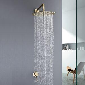 埋込形シャワー水栓 ヘッドシャワー バス蛇口 レインシャワーヘッド 混合栓 金色