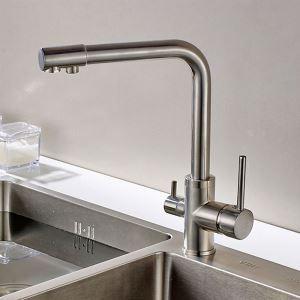 キッチン水栓 台所蛇口 冷熱混合栓 浄水器用水栓 浄水・原水切替 水道蛇口 2ハンドル ヘアライン
