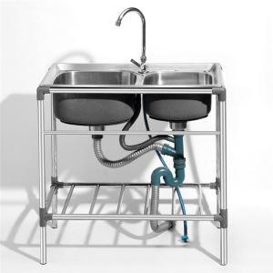 屋外専用シンク 簡易流し台 ガーデンシンク ステンレス製 ホルダー付 移動式 取付簡単 2層 D7238(蛇口なし)