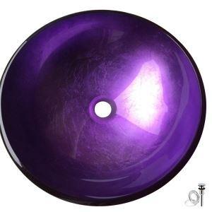 洗面ボウル 手洗い鉢 洗面器 洗面ボール ガラス 排水金具付 オシャレ 紫色