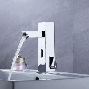 センサー水栓 自動水栓 洗面蛇口 水道蛇口 冷熱混合栓 クロム DC6V