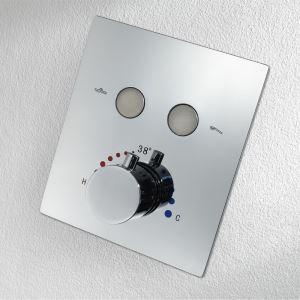 サーモシャワーバルブ 埋込形バルブ スイッチ部品 シャワー水栓用 2機能 黒色/クロム